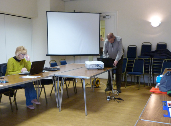 Bob McEwan Preparing for his Presentation with SG1 Member Bat Girl using the Free JGC Wi-Fi